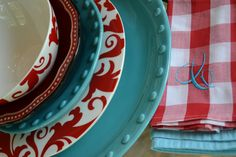 Aqua and red ---my kitchen!