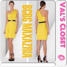 "Selling this ""BCBG MAXAZRIA Yellow One Shoulder Cocktail Dress"" in my Poshmark closet! My username is: sunny82985. #shopmycloset #poshmark #fashion #shopping #style #forsale #BCBGMaxAzria #Dresses & Skirts"