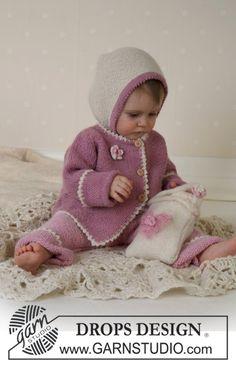 """BabyDROPS 13-6 - Chaqueta, pantalón, bonete, bolso y frazada en """"Alpaca"""". - Free pattern by DROPS Design"""