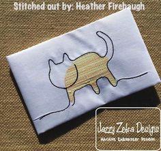 Cat Sketch Embroidery Design: Jazzy Zebra Designs