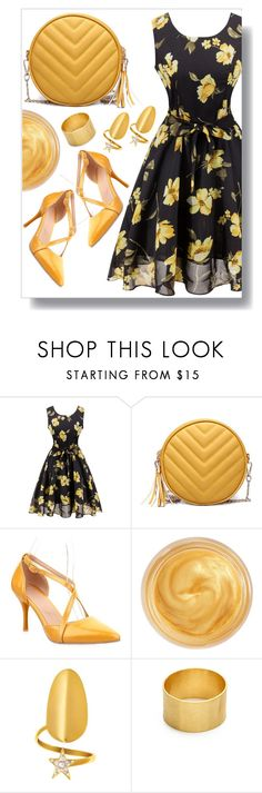 """Floral Dress"" by simona-altobelli ❤ liked on Polyvore featuring Oribe, Maya Magal, vintage, floral, blackandyellow, floraldress and springformal"