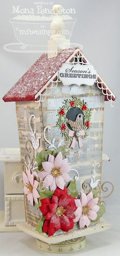 Seasonal Sentiments, Homespun Birdhouse Die-namics, Winter Wreath Die-namics, Poinsettis Die-namics, Medium Fancy Flourish Die-namics - Mona Pendleton