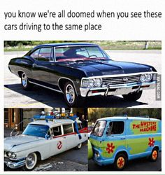 Supernatural, Scooby Doo, and Ghost Busters Supernatural Tumblr, Supernatural Fandom, Castiel, Supernatural Crossover, Memes Humor, Funny Memes, Sam Winchester, Stupid Funny, Hilarious
