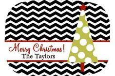 Personalized Melamine Chevron Christmas Tree Platter. $24.50, via Etsy.
