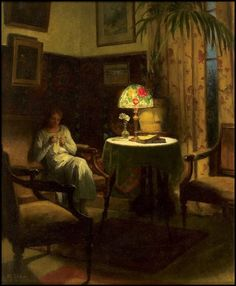 Marcel Rieder (French, 1862-1942) - Young Woman Sewing