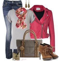 """Fuschia Leather Jacket"" by fantasy-closet on Polyvore"
