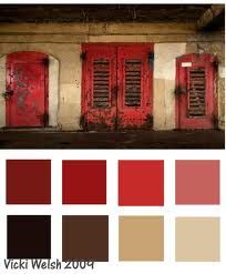 Color palette - red door Living room but the tan is more gold.