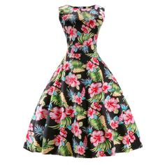 Vintage Round Neck Print Sleeveless Dress For Women #shoes, #jewelry, #women, #men, #hats, #watches, #belts