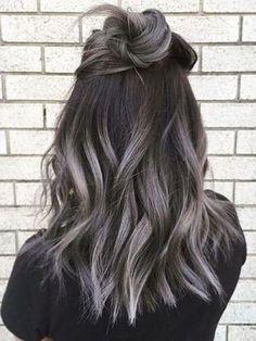 Silver Ombre Hair, Brown Ombre Hair, Ombre Hair Color, Light Brown Hair, Hair Color Balayage, Brown Hair Colors, Dark Brown, Hair Colour, Black To Grey Ombre Hair