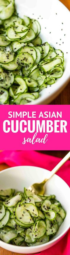 Asian Cucumber Salad -- this simple cucumber salad recipe is super light and refreshing, perfect for hot summer days… Rice vinegar and dark sesame oil, along with toasted sesame seeds give it a delicious Asian flair!   http://unsophisticook.com