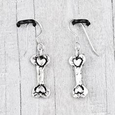 Dog bone earrings adorned with tiny hearts   #Dog #DogMonth #earrings #jewelry #cowgirljewelry  http://www.islandcowgirl.com/