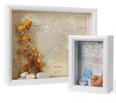 Show-off boxes - Display trip souvenirs with these shadow boxes. Cut out maps of your vacation spot and mount to the back of the box. Fill with souvenir buttons, wine corks, concert tickets and other vacation keepsakes. Diy Wall Art, Diy Art, Wall Decor, Blank Wall Solutions, Vacation Memories, Travel Memories, Vacation Spots, Shadow Box, Craft Projects
