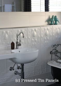 Art Nouveau- Bathroom Dado Wall is available from Pressed Tin Panels in Australia. New Interior Design, Contemporary Interior Design, Interior Decorating, Decorating Ideas, Interior Ideas, Modern Interior, Chic Bathrooms, Amazing Bathrooms, Vintage Bathrooms