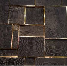 End grain wood and brass, Inlay Detail, this would be the coolest focal wall behind a fire place or in a dark romantic dining room Japan Design, Wall Patterns, Floor Patterns, Brass Wood, Inlays In Wood, Inlay Wood, Wood And Gold, Wood And Metal, End Grain Flooring