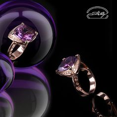 Anello Ametista - Ring: Amethyst and Diamonds - Precious Jewelry - Jewels - Silvia Kelly Gioielli - Italu