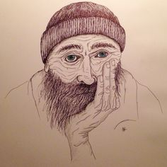 Drawing old man with blue eyes