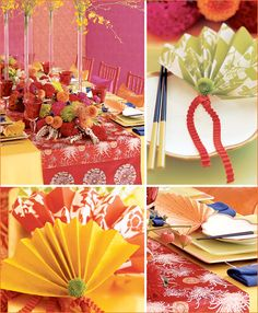 I love the asian inspired fabric runner here, that contrasts with the yellow table cloth. I wonder if we could do something similar with a paper or cloth find from ctown? Asian Inspiration: East Meets Guest