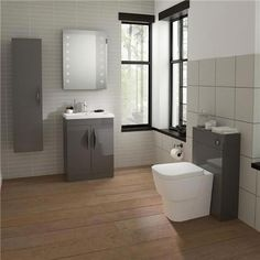 Hudson Reed Memoir 800mm 2 Drawer Floor Mounted Basin & Cabinet - Gloss Grey - 2 Basin Options