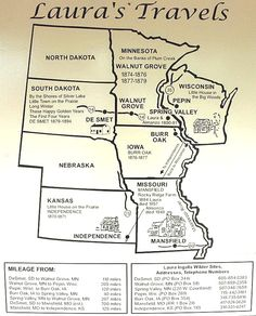 Laura Ingalls Wilder map - I think I'm gonig to read the books again. I would love to then do a road trip following her tracks :)