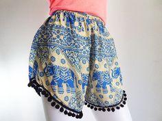 Elephants print Shorts blue pom pom black by Gooza on Etsy