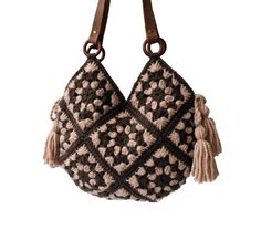 crochet handbags Extra large boho style crochet bag in granny squares technique with big yarn tassels and genuine leather straps. If you're looking for a fancy, modern crochet bag th Crochet Handbags, Crochet Purses, Large Tote, Large Bags, Crochet Hippie, Big Yarn, Bag Women, Modern Crochet, Large Purses