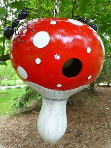Fun Birdhouse Gourd In The Shape Of A Mushroom Along With A Pair Of Ants  From