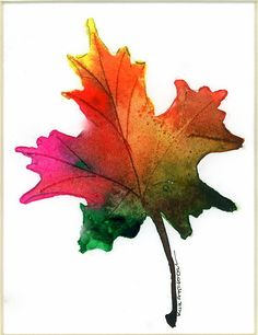 Handmade Cards by Kim, Free Watercolor Lessons and Card Making Ideas Maple Leaf Tree, Tree Leaves, Maple Leaves, Leave In, Watercolor Leaves, Watercolor Paintings, Fabric Painting, Autumn Trees, Autumn Leaves