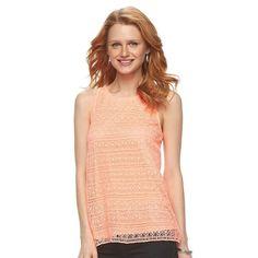 Women's Apt. 9® Mixed-Media Crochet Tank, Size: Medium, Brt Orange