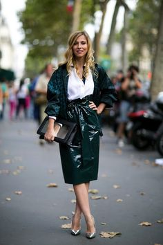 The 25 Best Street Style Snaps From Paris Fashion Week: We can't think of many people who could pull off this skirt, but she's making us want one.