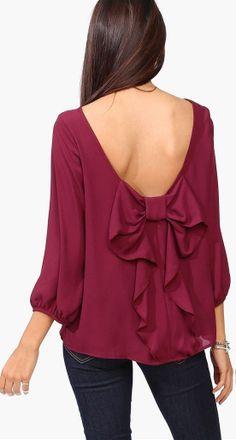 Bow back blouse // burgundy