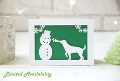 Pack of 5 in) papercut dog themed special edition Christmas cards, 5 envelopes are included in the pack. Each one is cut from crisp white card with a beautiful shimmery paper insert. The inside is blank white leaving space perfec Christmas Hat, Christmas Cards, Xmas, Build A Snowman, Blank White, Gifts For Pet Lovers, Unique Gifts, Greeting Cards, Place Card Holders