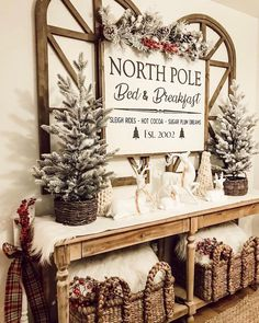 North Pole Bed & Breakfast / Farmhouse Style / Rustic / Home Decor / Hand . - North Pole Bed & Breakfast / Farmhouse Style / Rustic / Home Decor / Hand painted / Wood sign - Christmas Signs Wood, Cozy Christmas, Christmas Holidays, Christmas Crafts, Christmas Design, Christmas Island, Christmas Kitchen, Christmas Ornaments, Southern Christmas