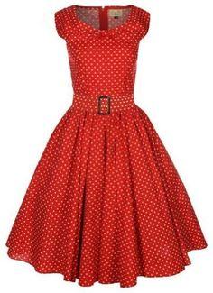 Lindy Bop 'Hetty' Red Polka Dot Bow Shawl Collar Vintage 1950's Dress $49.99 (save $20.00)