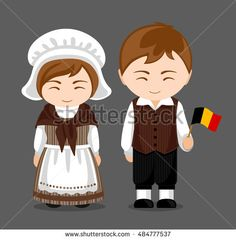 Belgians in national dress with a flag. Man and woman in traditional costume. Travel to Belgium. People. Vector flat illustration.