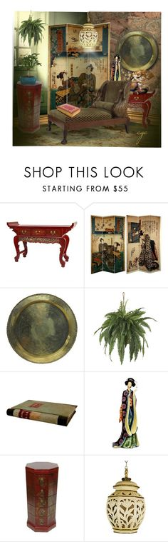 """""""Chinoiserie Decor"""" by craftygeminicreation ❤ liked on Polyvore featuring interior, interiors, interior design, home, home decor, interior decorating, AmCork, Nearly Natural and Brunelli Designs"""