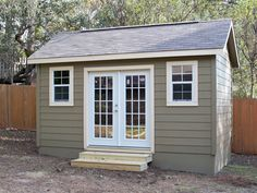 Gable Storage Shed 24 small Guest House Shed, Cottage House Plans, Cottage Homes, Tiny House, Backyard Office, Backyard Sheds, Backyard Landscaping, Painted Garden Sheds, Garden Shed Kits