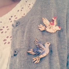 Gorgeous bird brooches....