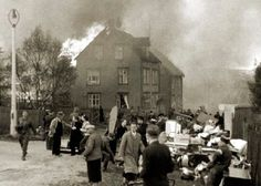 Houses burn in Narvik, Norway during the German Invasion in 1940. This relates to The Book Thief because it connects to the burning of the Jewish books. The Nazi's wanted to demolish the existence of Jews so they tried to burn everything related to Jews.