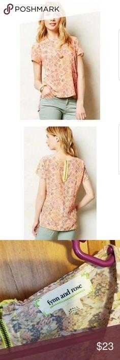 Anthropologie fynn and rose 100% silk top In euc.  So soft! 100% silk Anthropologie Tops