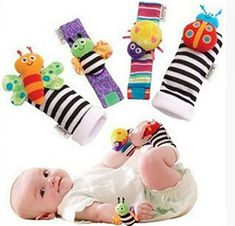 1 Pair Pacifier Wabbanub Rattle Socks Bundle of 3 Infant Gift Set in a Box with Gift Tag Included /& Wrist Bands 1 Pair