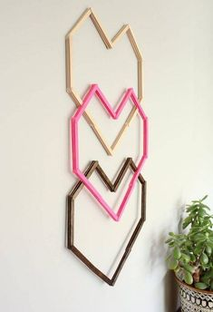 Geometric Heart DIY Wall Art--With Popsicle Sticks! - geometric heart diy wall art with popsicle sticks, crafts, diy, home decor, repurposing upcycling - Cute Crafts, Creative Crafts, Decor Crafts, Diy Crafts, Yarn Crafts, Diy Popsicle Stick Crafts, Popsicle Stick Houses, Craft Sticks, Diy With Popsicle Sticks