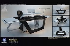 Cco Desk Design concept art from Assassin's Creed IV: Black Flag by Encho Enchev Assassins Creed, Man Cave Desk, Home Office, Office Table Design, Dream Desk, Concept Art World, Gamer Room, Futuristic Furniture, Desk Setup