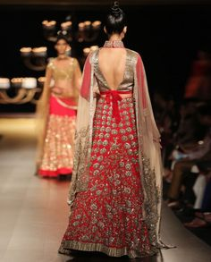 Embellished Red Lengha Set with Cream Dupatta - Wedding