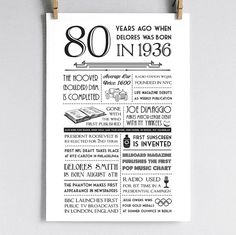 Personalized 80th Birthday Poster 1936  Would be good to do a similar idea for each decade of her life to put on each table