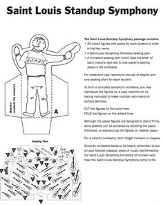 Saint Louis stand-up orchestra cut-out craft activity. Free download!    #musiceducation