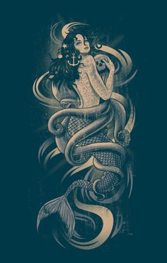 I love this for a dark + classic tattoo someday down the line. I would of course want it further customized, but I love the idea of the mermaid, skull and octopus.