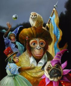 Monkey and Friends by Wim Bals Art Through The Ages, Monkey Art, Abstract Painters, Pop Surrealism, Surreal Art, Pet Clothes, Artist Painting, Dog Art, Animal Drawings