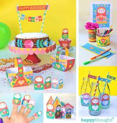 Russian Doll party printables to instantly download. 21 PDF   Etsy Rainy Day Activities, Party Activities, Party Kit, Party Packs, Happy Birthday Posters, Basket Crafts, Cupcakes, Doll Party, Matryoshka Doll