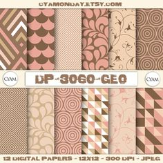 SALE Elegant Pink and Brown Digital Paper: Instant от cyamonday
