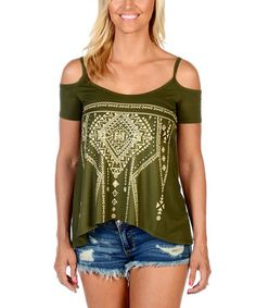 Olive Embroidered Boho Cold-Shoulder Tee - Plus Too #zulily #zulilyfinds